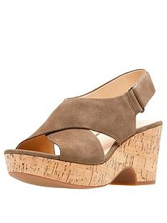 d2aeebbb008 Clarks Maritsa Lara Wedge Sandals - Olive Suede
