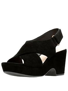 850b651d41 Clarks Maritsa Lara Suede Wedge Sandals - Black