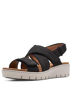 clarks-unstructured-un-karely-dew-wedge-sandals-black