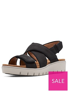 clarks-unstructured-un-karely-dew-wedge-sandals-black