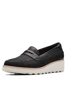 dd89dad760cc Clarks Sharon Ranch Wedge Loafer Shoes - Black