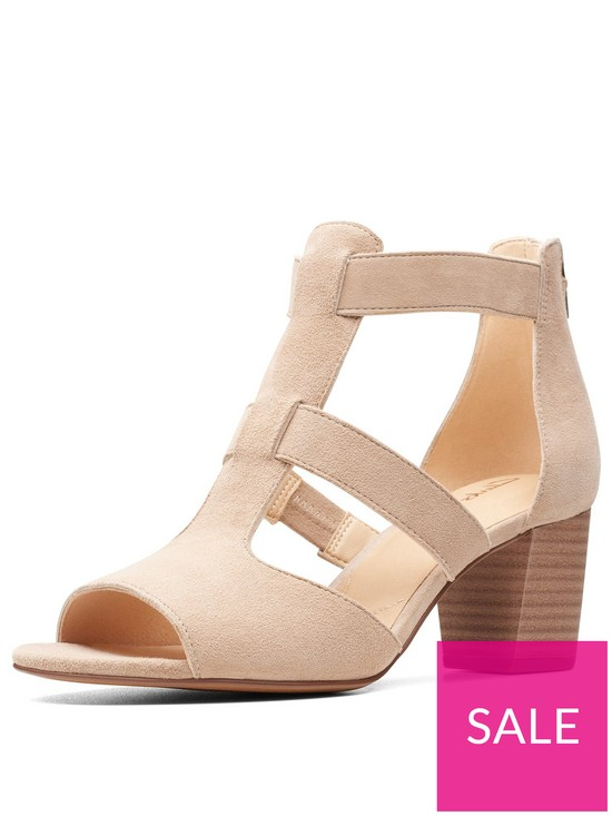 3e746ce62b Clarks Deloria Fae Heeled Sandals - Sand Suede | very.co.uk