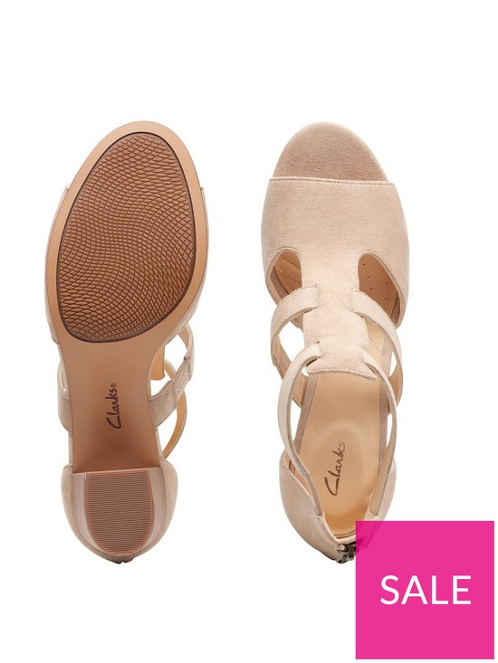 954dbbb659 ... Clarks Deloria Fae Heeled Sandals - Sand Suede. 2 people have looked at  this in the last couple of hrs.