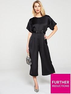 68c6f918257 V by Very Eyelet Kimono Sleeve Jumpsuit - Black