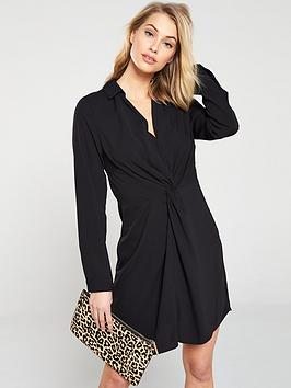 v-by-very-collar-and-twist-front-dress-black
