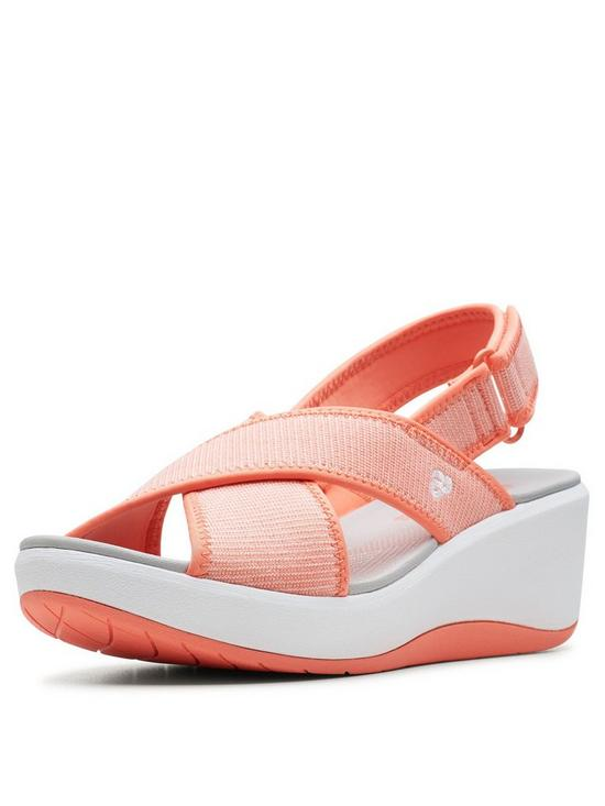 1016f9470cf3 Clarks Cloudsteppers Step Cali Cove Wedge Sandals - Coral