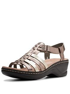 57e846acd73 Clarks Lexi Bridge Flat Sandals - Metallic