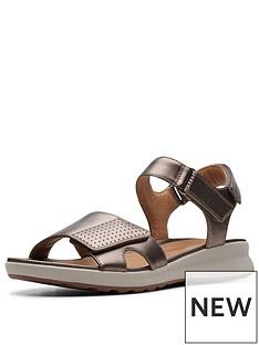 e827372d826 Clarks Unstructured Un Adorn Calm Flat Sandals - Pebble Metallic