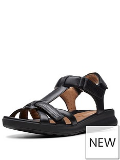 9691f84f1fe Clarks Unstructured Un Adorn Vibe Wide Fit Flat Sandals - Black