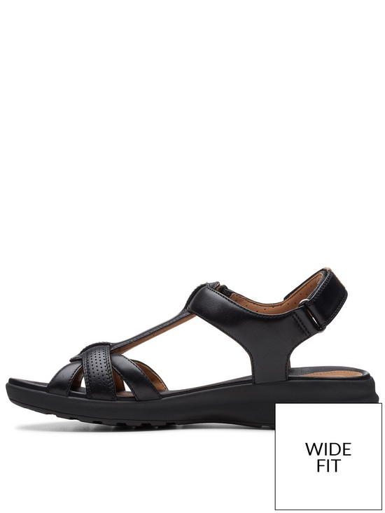 7974fef1a40 ... Clarks Unstructured Un Adorn Vibe Wide Fit Flat Sandals - Black. View  larger