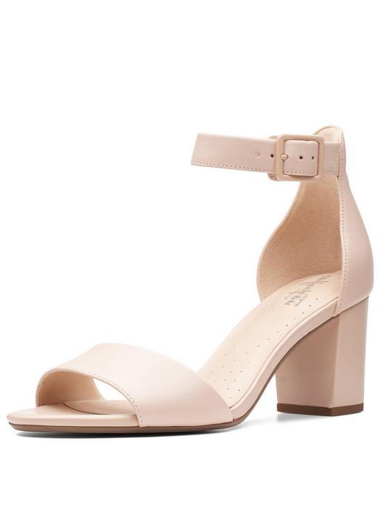b2f29a21017 Clarks Deva Mae Heeled Sandal Shoes - Nude Pink