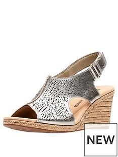 bb3dcb9e567 Clarks Lafley Rosen Wedge Sandals - Pewter Metallic
