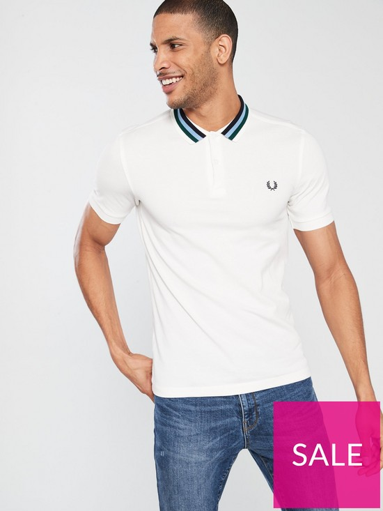 8522fe6febd4 Fred Perry Bomber Stripe Pique Polo Shirt - White | very.co.uk