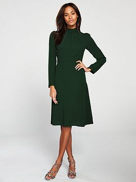 v-by-very-high-neck-midi-dress-forest-green