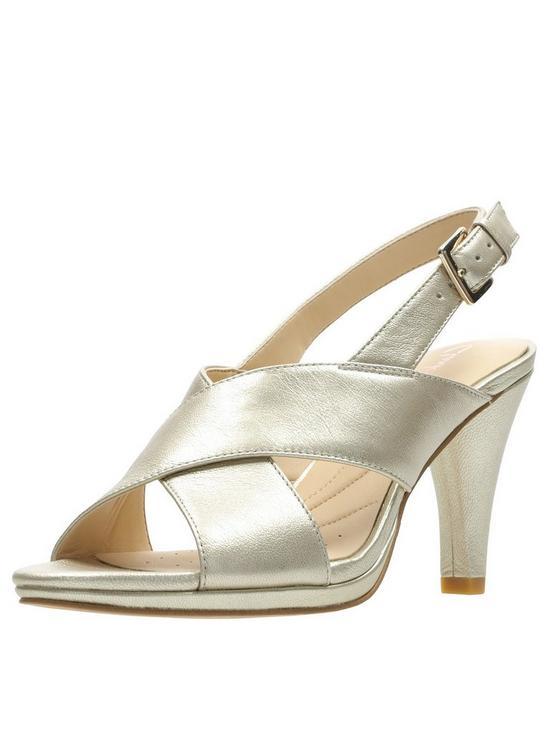 5867b6bc6b Clarks Dalia Lotus Heeled Sandals - Champagne   very.co.uk