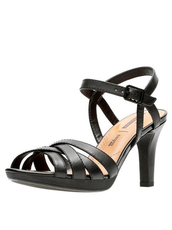Adriel Wavy Heeled Sandals - Black