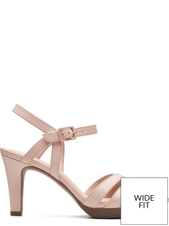 97a14e3817e ... Clarks Adriel Wavy Wide Fit Heeled Sandals - Dusty Pink. 2 people are  looking at this right now.