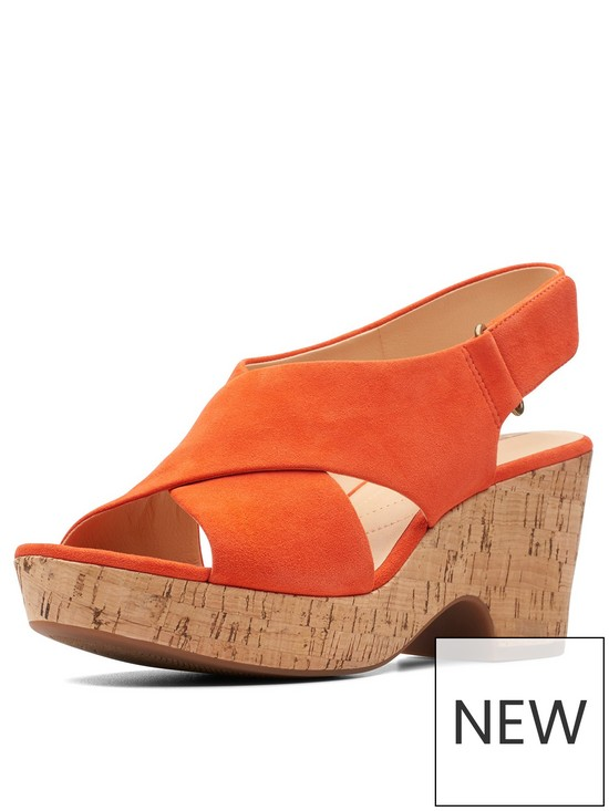fcc695ffcd6711 Clarks Maritsa Lara Wide Fit Wedges - Orange
