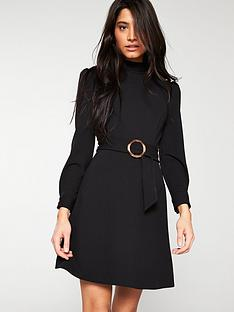 v-by-very-belted-sleeve-detail-dress-black