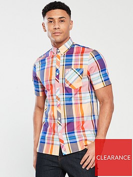 fred-perry-short-sleeved-checked-shirt-multi-coloured