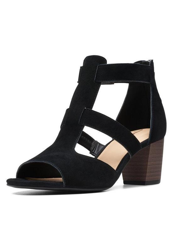 3b6e1b5267 Clarks Deloria Fae Heeled Suede Sandals - Black | very.co.uk