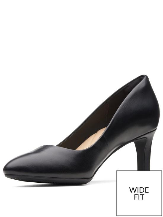 7d2da3d025aa Clarks Calla Rose Wide Fit Heeled Shoes - Black