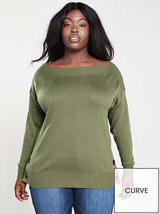 528d305120f V by Very Curve Button Detail Jumper - Green