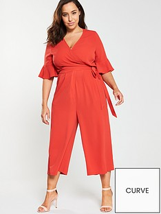 353c57080bdd Girls On Film Curve Wrap Front Wide Leg Culotte Jumpsuit - Red