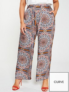 9f49f52799e Girls On Film Curve Tile Print Wide Leg Trousers - Multi