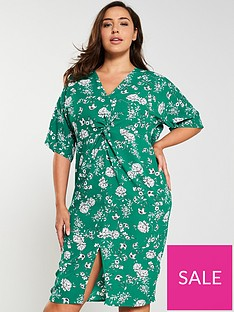 girls-on-film-curve-floral-print-knot-front-detail-midi-dress-green