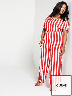 a299d9c18d Girls On Film Curve Girls On Film Curve Candy Stripe Bardot Jumpsuit