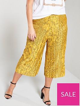 girls-on-film-curve-printed-plisse-trouser-mustard
