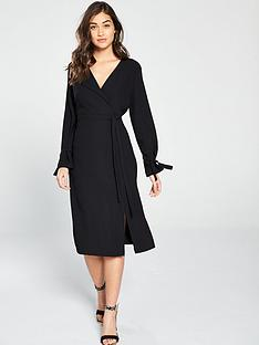 950c471fa91 River Island Wrap Midi Dress - Black