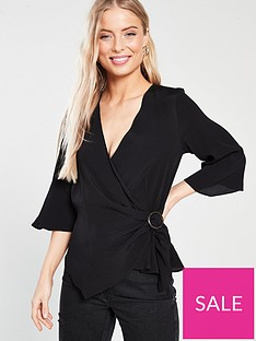 river-island-river-island-woven-buckle-wrap-blouse-black