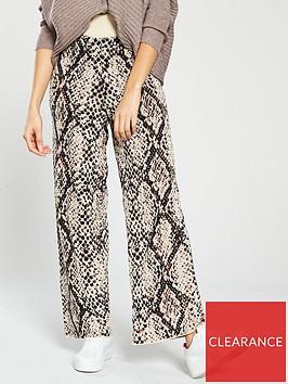 river-island-river-island-snake-print-knit-trousers-cream
