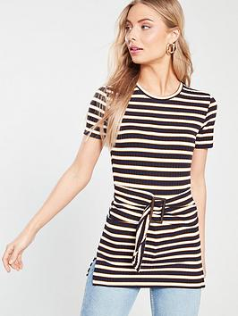 river-island-river-island-stripe-jersey-belted-top-cream