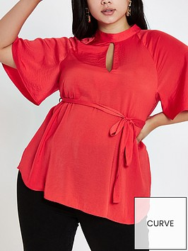 ri-plus-flute-sleeve-blouse-red