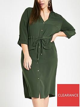ri-plus-utility-midi-shirt-dress-khaki