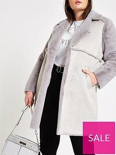ri-plus-ri-plus-faux-fur-lined-longline-coat-grey