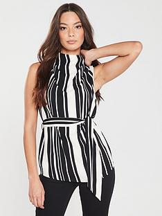 River Island River Island High Neck Woven Top -Black Stripe 3d42d37c5