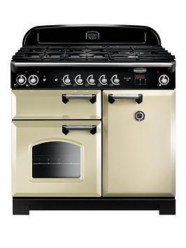 Rangemaster Classic CLA100DFFCR/C Free Standing Range Cooker in Cream / Chrome