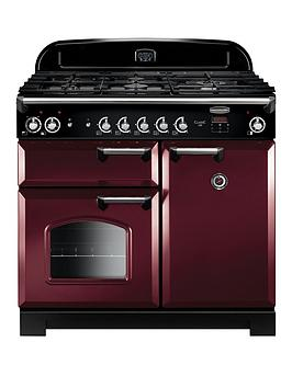 Rangemaster Classic CLA100DFFCY/C Free Standing Range Cooker in Cranberry / Chrome