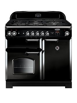 Rangemaster Classic CLA100DFFBL/C Free Standing Range Cooker in Black / Chrome