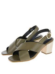 295e1311b577 Monsoon Lenore Leather Crossover Block Heel Sandals - Kahki