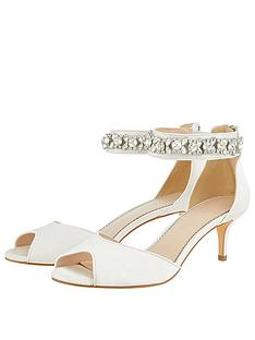 a054e0507ff Monsoon Elsa Bridal Embellished Ankle Strap Kitten Heeled Shoes - Ivory