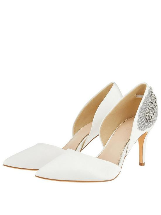 c1da2bd5af37 Monsoon Flori Bridal Feather Embellished Court Heeled Shoes - Ivory ...