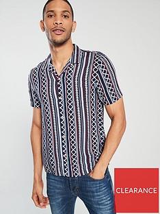 river-island-short-sleeve-navy-aztec-shirt