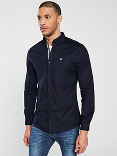 river-island-navy-oxford-stretch-long-sleeve-shirt