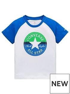 63cb30145454 Converse Boys Colour Block Raglan T-Shirt - White Blue