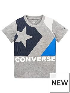 1ccc1405365e Converse Boys Box Star Chevron Colour Block T-Shirt - Grey